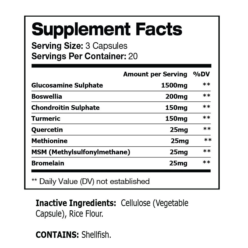 ARTICULAR BONE AND JOINT HEALTH SUPPLEMENT SUGGESTED FACTS