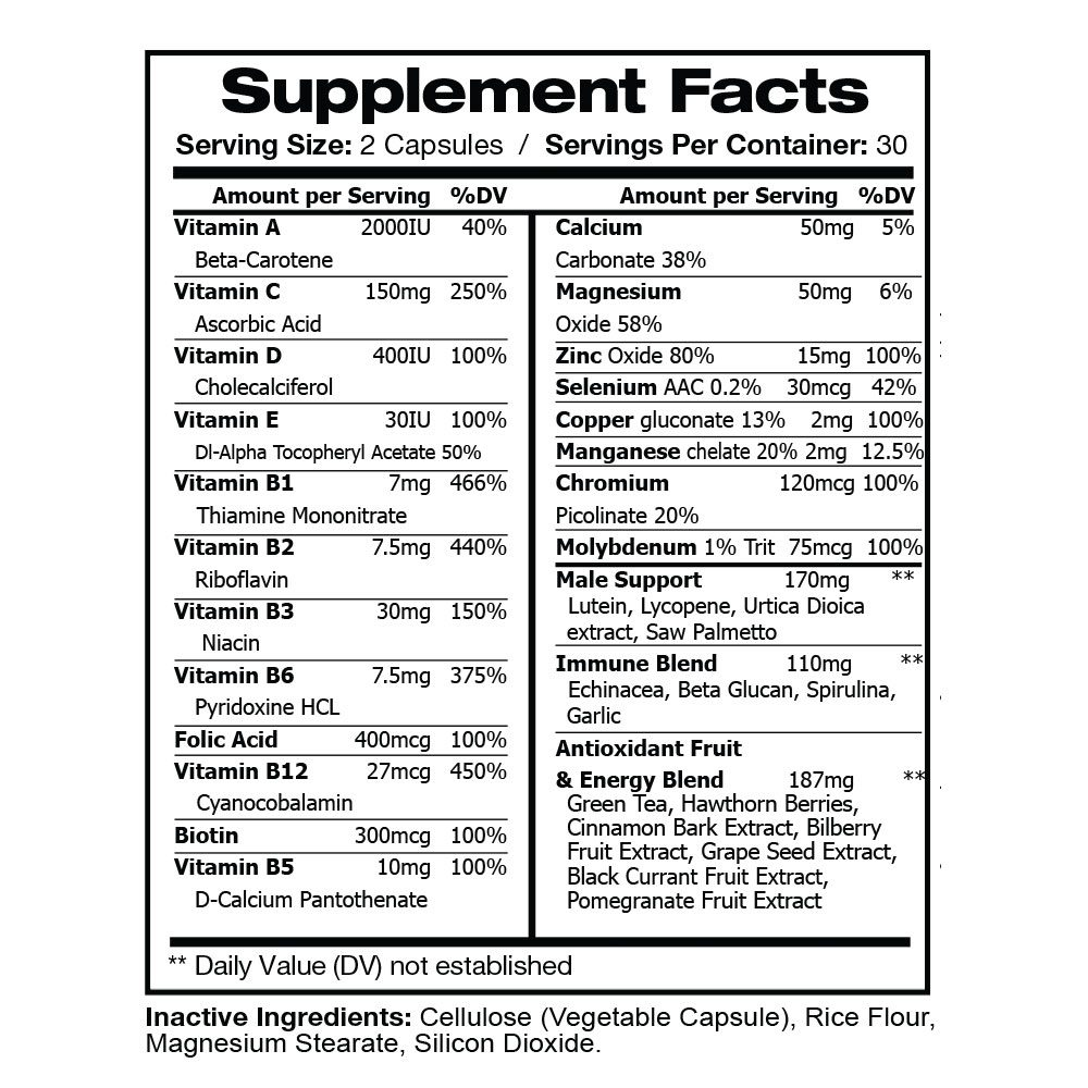 AKIRO Premium Men's Multivitamin Supplement Facts