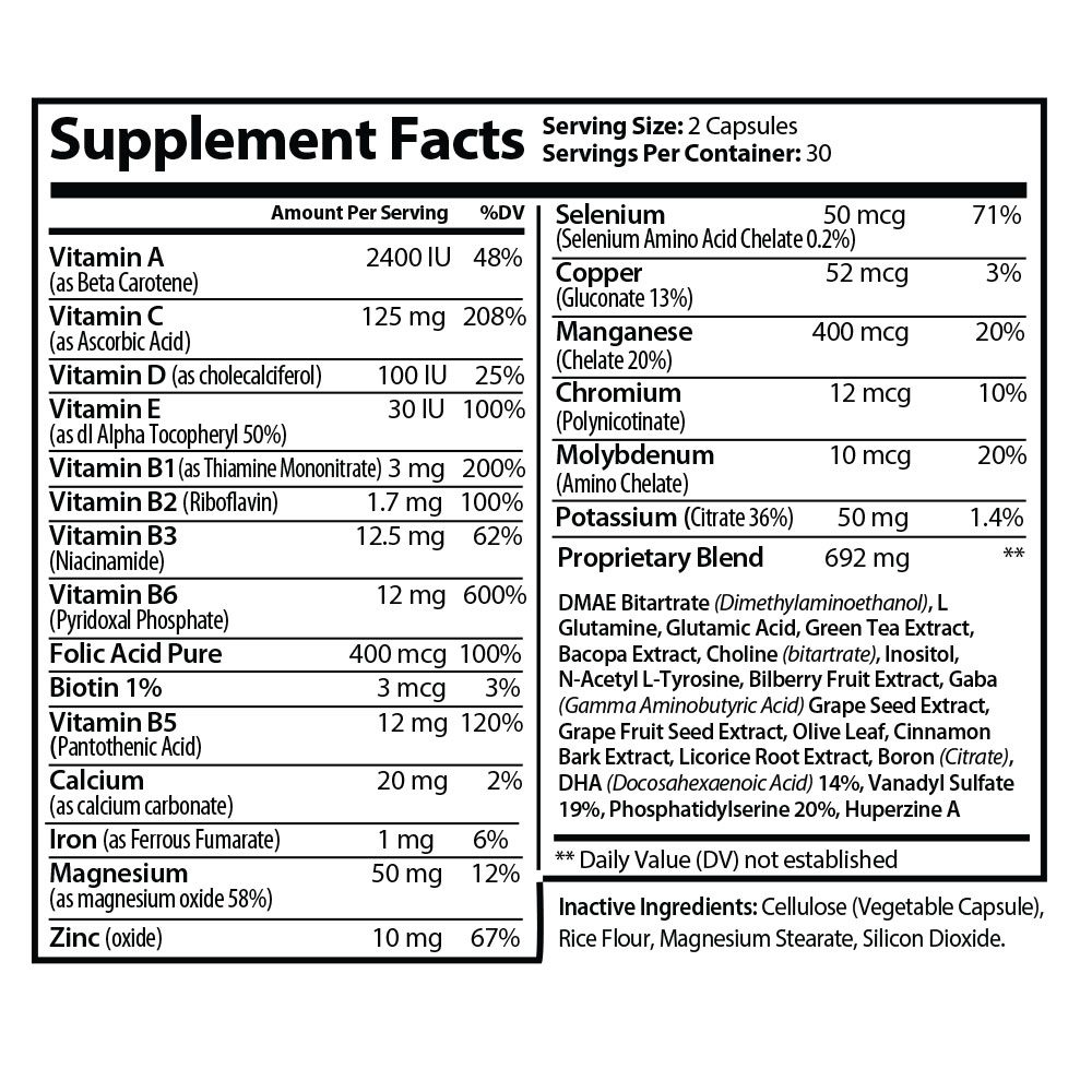SANITY UNIVERSAL NOOTROPIC SUPPLEMENT FACTS